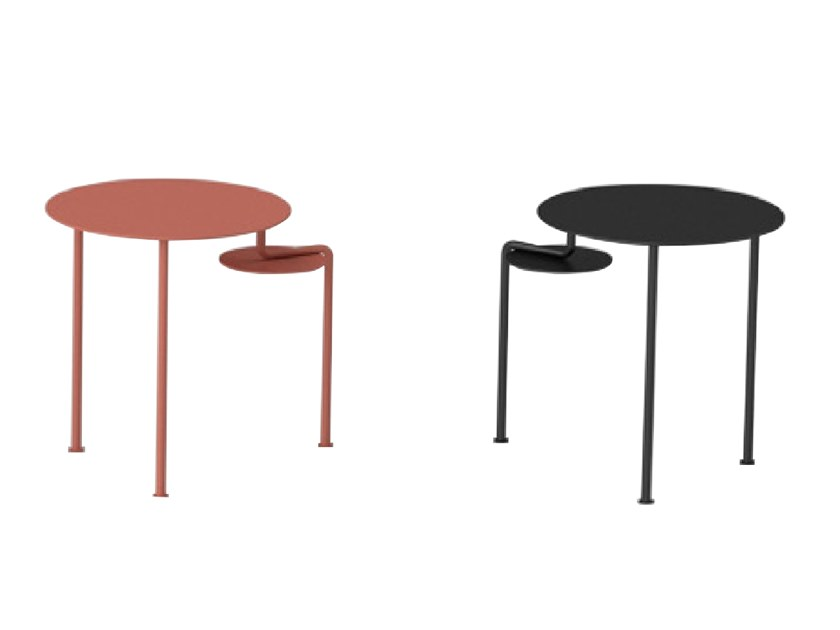 Round stainless steel and wood high side table WATERFALL | High side table by ZENS Lifestyle