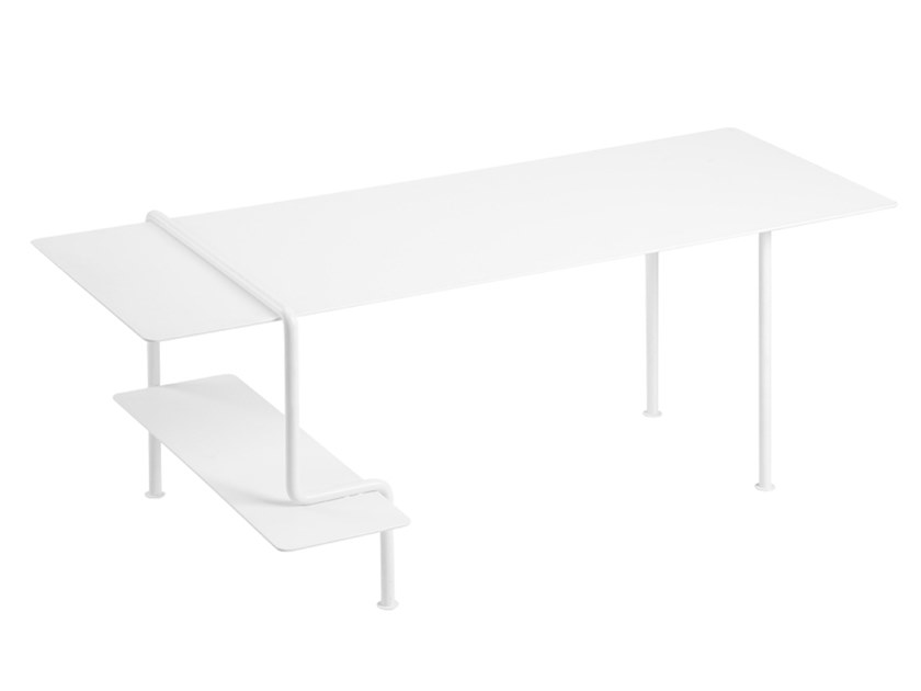 Low rectangular stainless steel and wood coffee table SQUARE B by ZENS Lifestyle