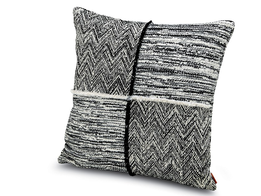 Cushion in black and white jacquard fabric WATTENS | Patchwork cushion by MissoniHome