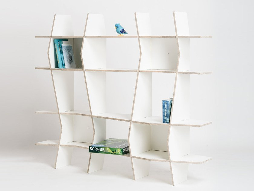 Freestanding plywood shelving unit WAV by Radis