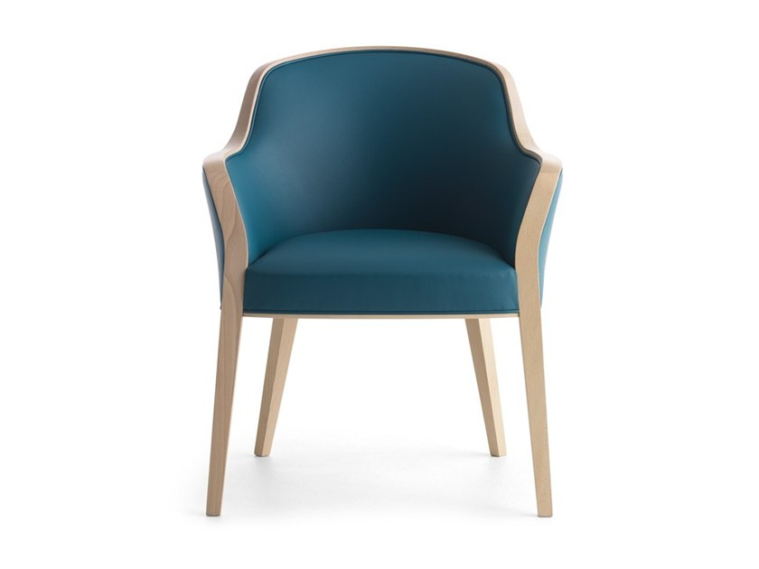 Upholstered chair with armrests WAVE 02731 by Montbel