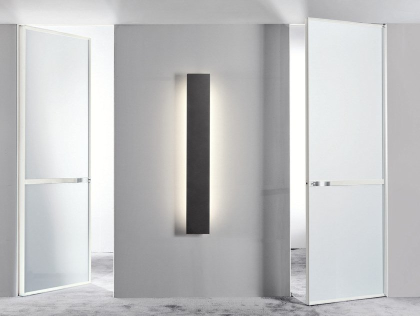 Hinged satin glass door WAVE | Hinged door by Longhi