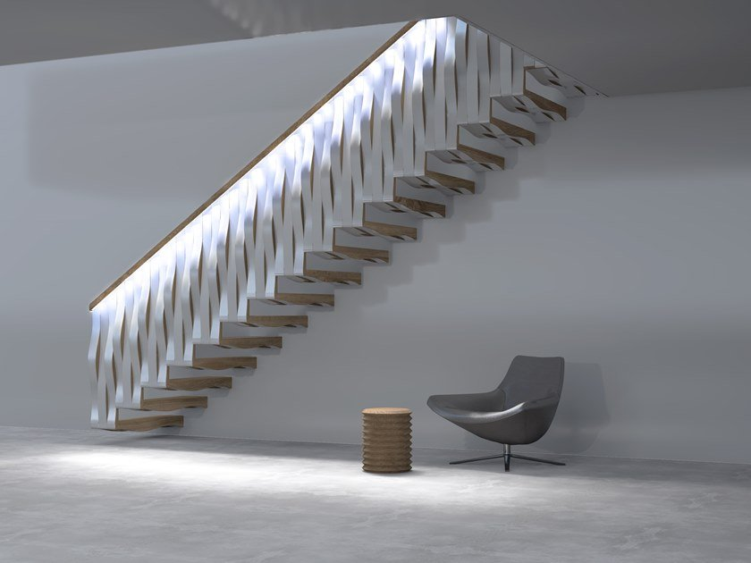 Wooden cantilevered staircase WAVE RAIL by Siller Treppen