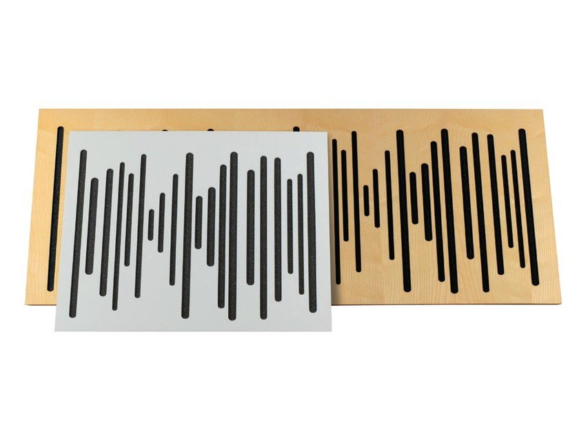 Wood-product decorative acoustical panel WAVEWOOD BASSTRAP by Vicoustic by Exhibo
