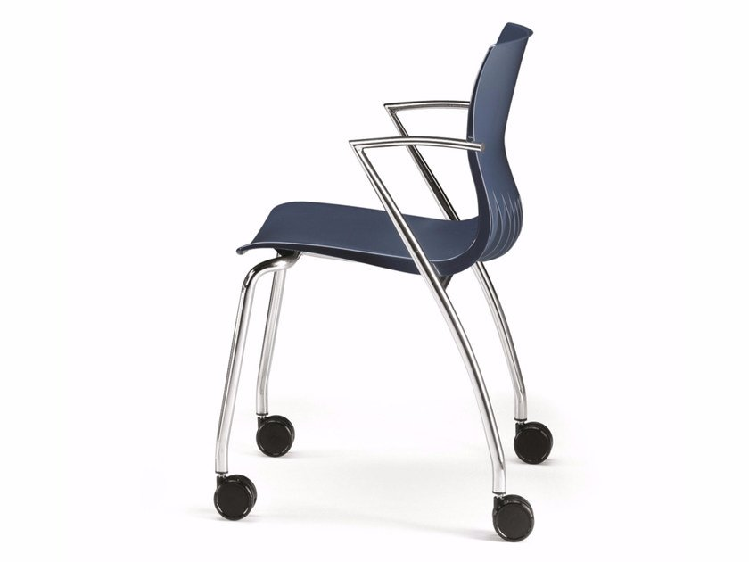 Plastic chair with armrests with casters WEBBY 334R by TALIN