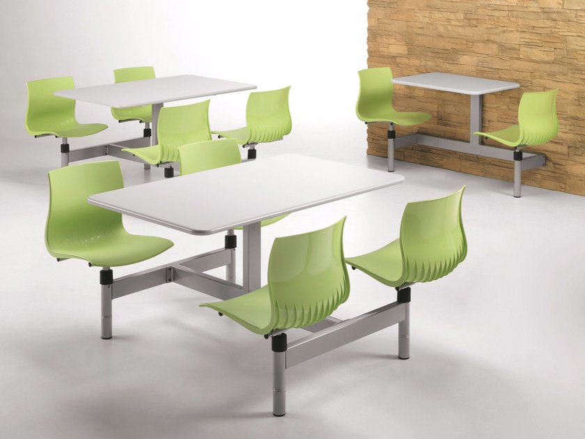 Plastic bench desk with integrated chairs WEBBY W830 by TALIN
