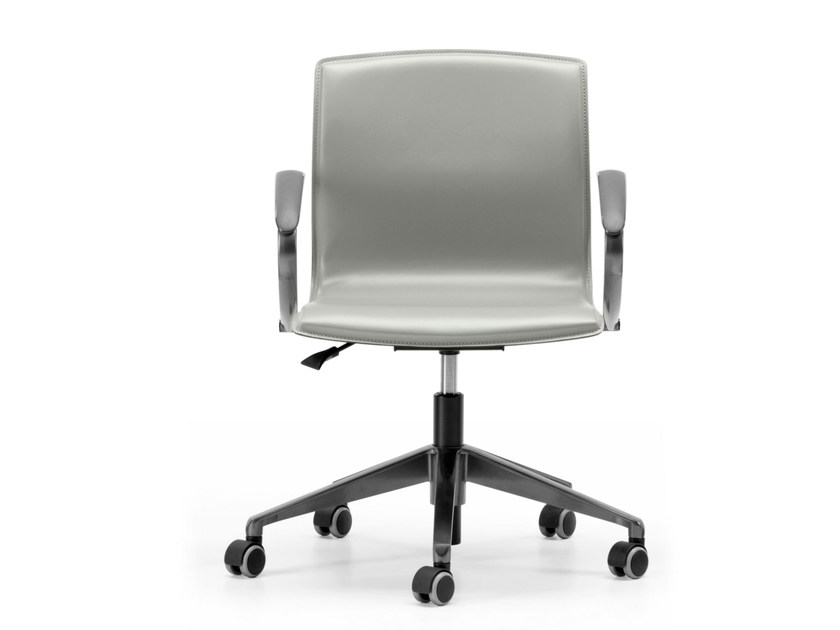 Tanned leather task chair with 5-Spoke base with armrests with casters WEBTOP 383 by TALIN
