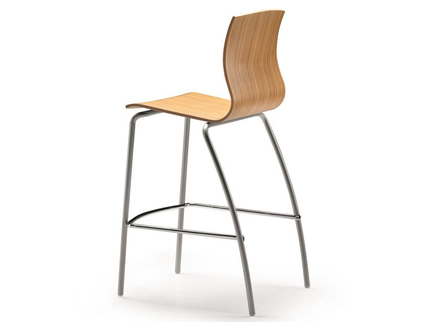 Multi-layer wood chair with footrest WEBWOOD 353H by TALIN