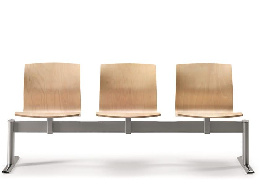 Freestanding multi-layer wood beam seating WEBWOOD 356B3 by TALIN