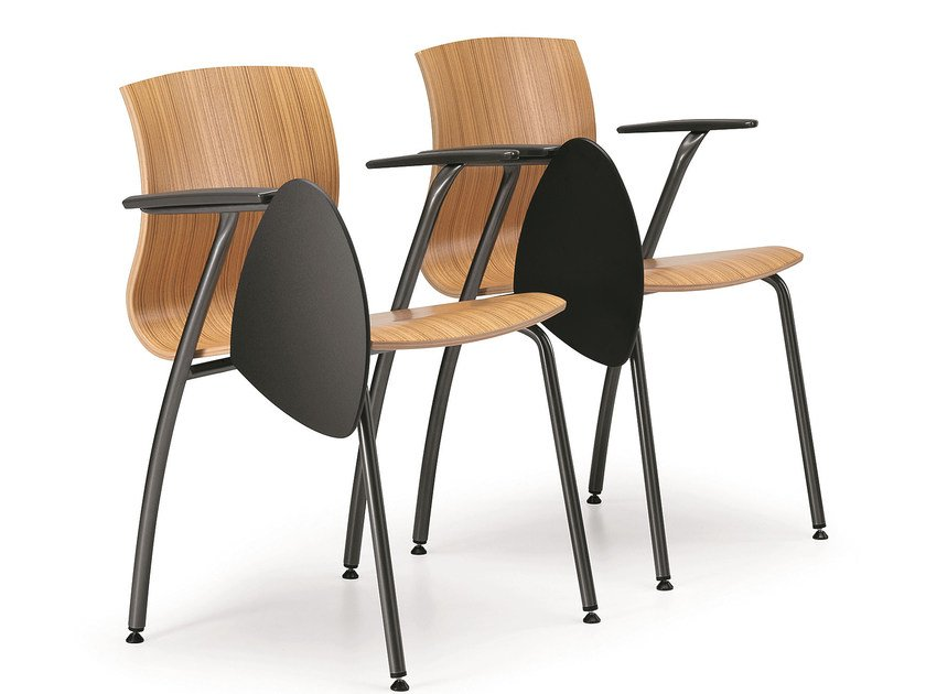 Sedia da conferenza in multistrato con braccioli con ribaltina WEBWOOD 358 TDX by TALIN