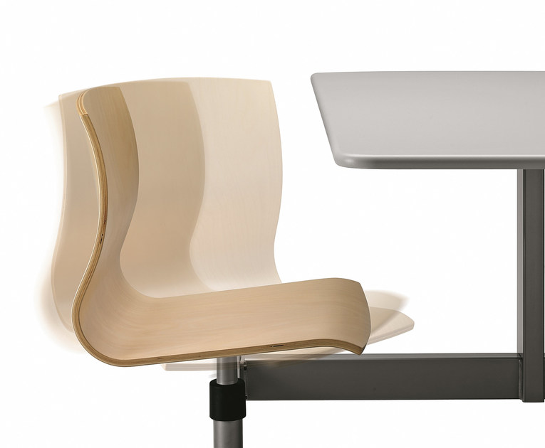 Bench desk with integrated chairs WEBWOOD W860 by TALIN