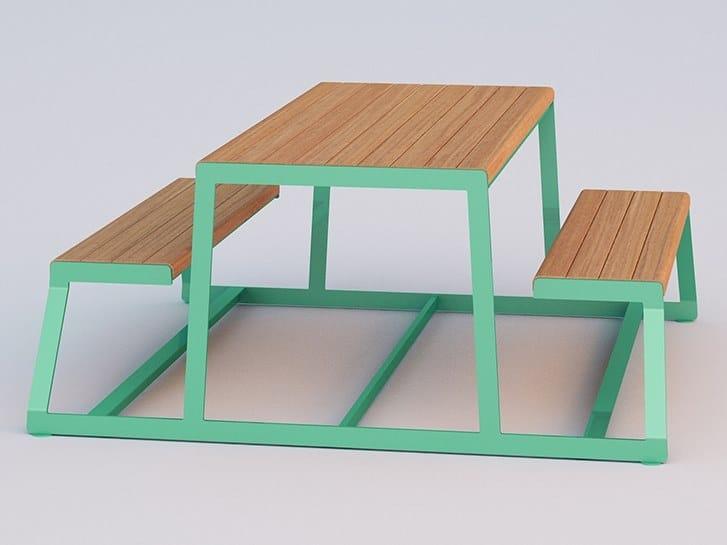 Tavolo da picnic rettangolare con panchine integrate WEEKEND by DIMCAR