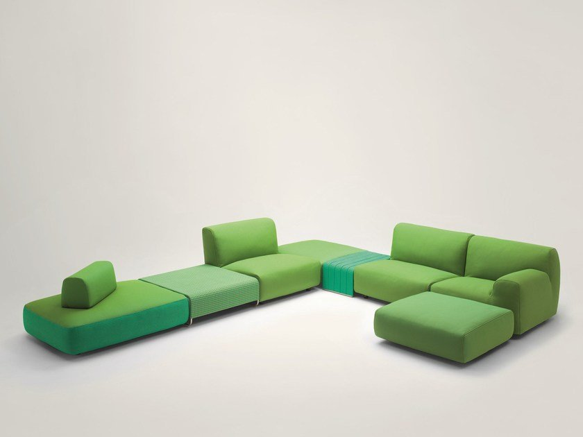 Sectional sofa with removable cover WELCOME | Sectional sofa by paola lenti