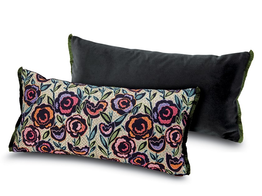 Cushion in cotton silk-like with floral embroidery WELLINGTON | Rectangular cushion by MissoniHome