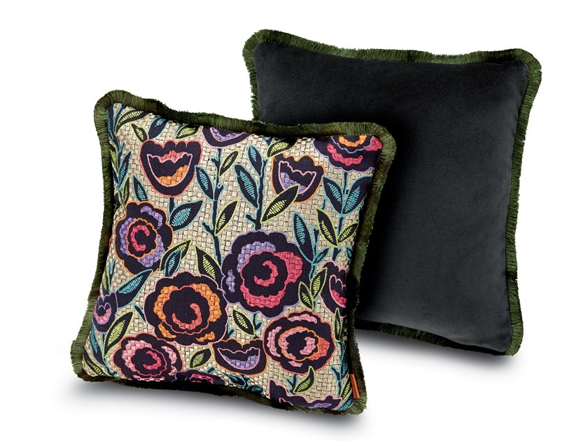Cushion in cotton silk-like with floral embroidery WELLINGTON | Square cushion by MissoniHome