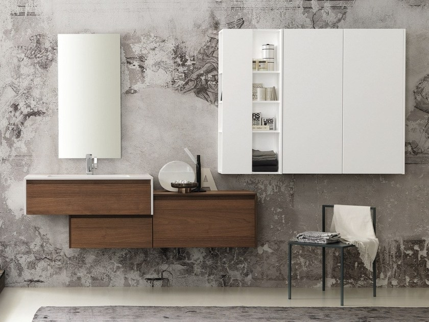 Wall-mounted walnut vanity unit with drawers WELLNESS 01 by Pedini