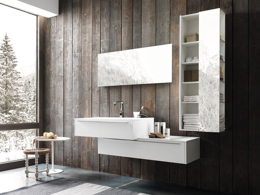 Lacquered wall-mounted vanity unit with drawers WELLNESS 02 by Pedini
