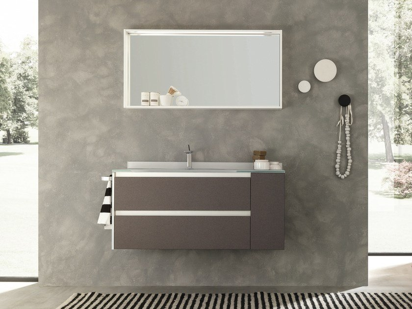 Wall-mounted Fenix-NTM® vanity unit with drawers WELLNESS 04 by Pedini