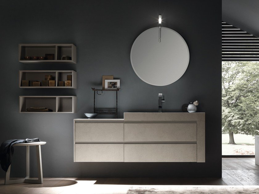 Lacquered wall-mounted ecomalta vanity unit with drawers WELLNESS 06 by Pedini