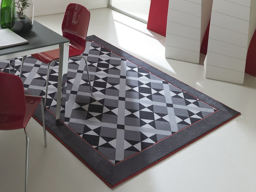 Fabric rug with geometric shapes WEMBLEY by Besana Moquette