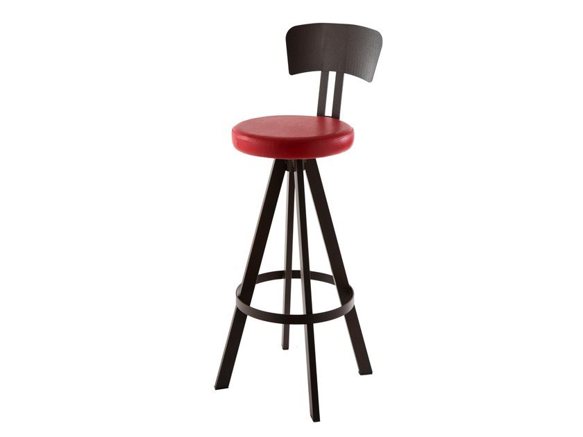Upholstered leather barstool with back WEST | Stool with back by Vela Arredamenti