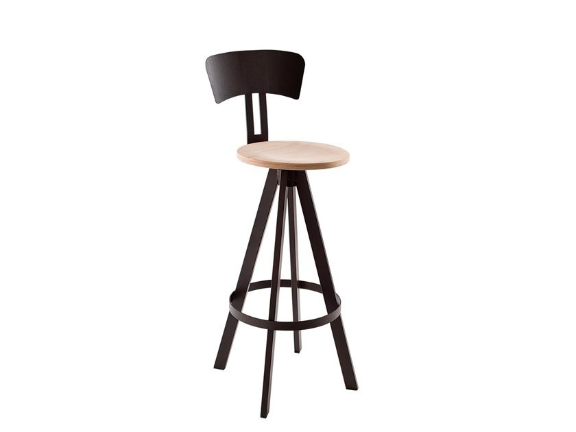 Wooden barstool with back WEST | Stool with footrest by Vela Arredamenti