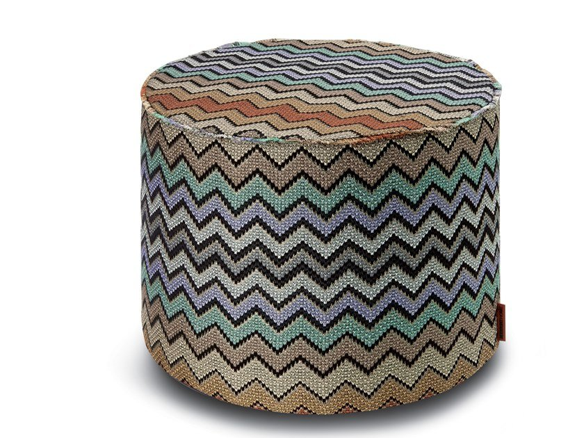 Cylinder pouf in jacquard fabric with lurex WESTMEATH | Pouf by MissoniHome