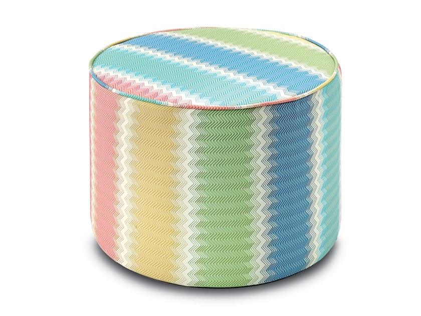 Cylinder pouf in jacquard fabric WESTMINSTER | Pouf by MissoniHome