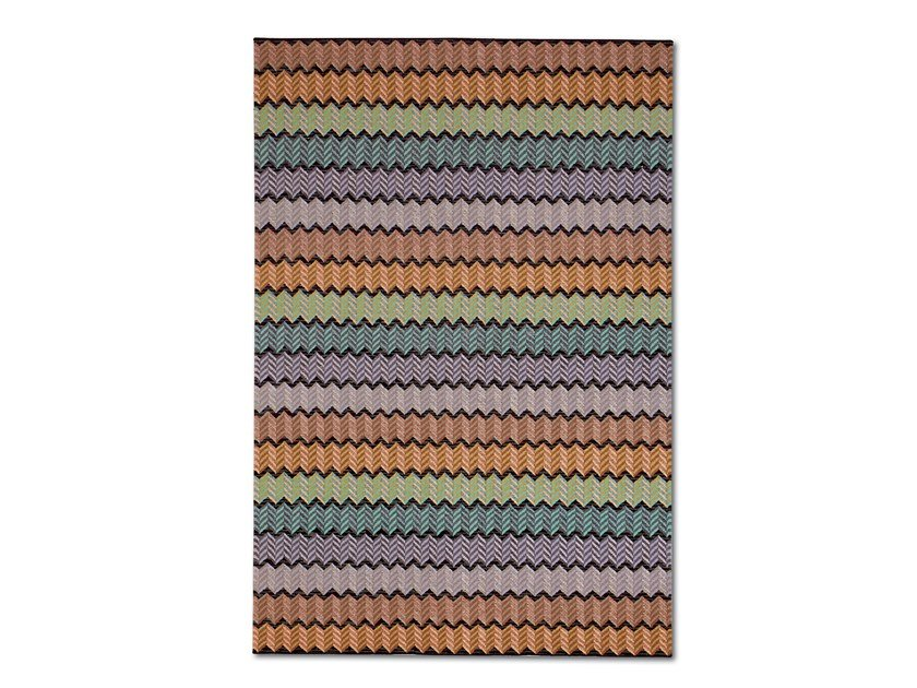 Hand knotted wool-viscose rug with chevron motif WEXFORD by MissoniHome