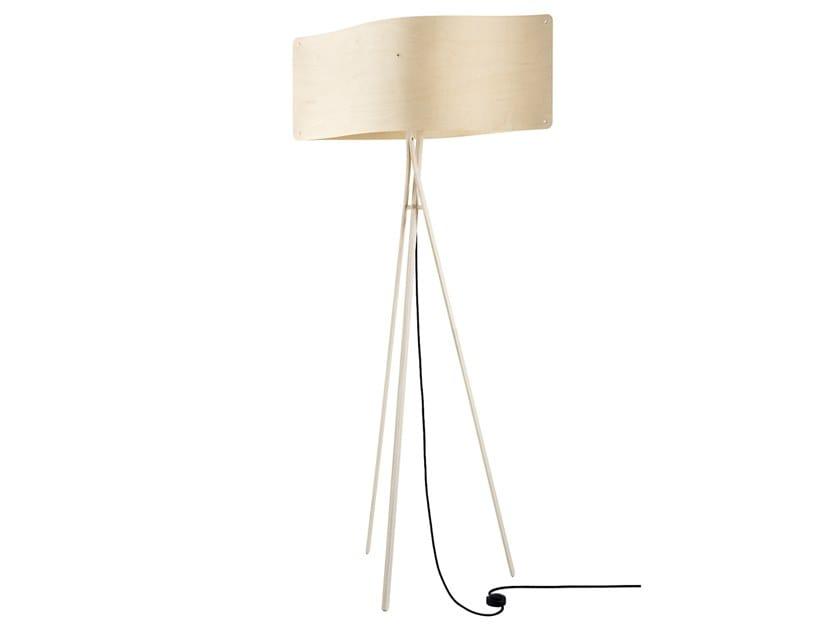 LED multi-layer wood floor lamp WIDE FLOOR LARGE by Finom Lights