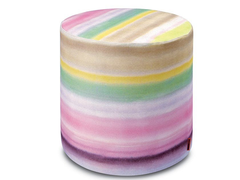 Cylinder pouf in linen with degradé stripe motif WHITBY | Pouf by MissoniHome