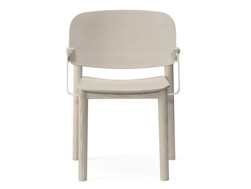 Ash chair with armrests WHITE | Chair with armrests by BILLIANI