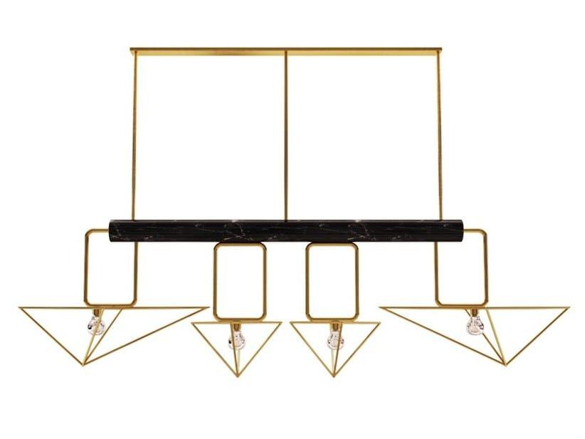 Brass chandelier WHITE HOUSE | Pendant lamp by Porustudio