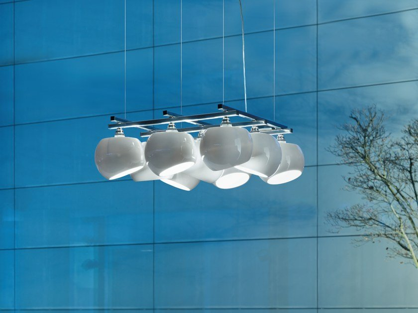 LED porcelain pendant lamp WHITE MOONS 3 X 3 | Pendant lamp by LICHT IM RAUM
