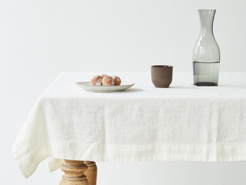 Washed linen tablecloth WHITE | Tablecloth by Linen Tales