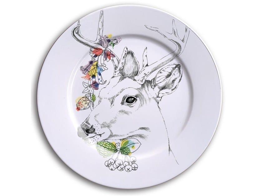 Porcelain dinner plate WHITE TALED DEER by Francesca Colombo