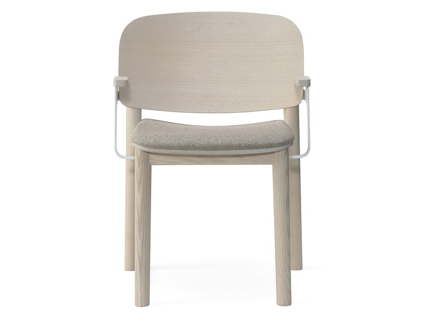 Upholstered fabric chair with armrests WHITE | Fabric chair by Billiani