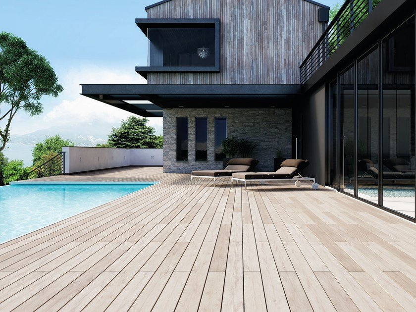 Composite Material Outdoor Floor Tiles With Wood Effect Externo