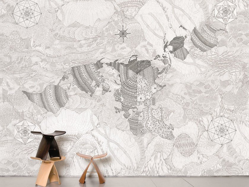 Non-woven paper wallpaper WHOLEARTH by Moustache