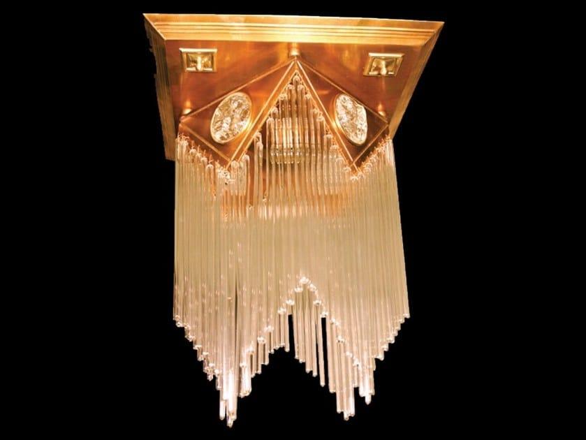Lampada da soffitto a luce diretta fatta a mano in ottone WIENER I | Lampada da soffitto by Patinas Lighting
