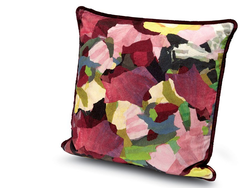 Cushion in printed cotton velvet WIGHT | Cushion by MissoniHome