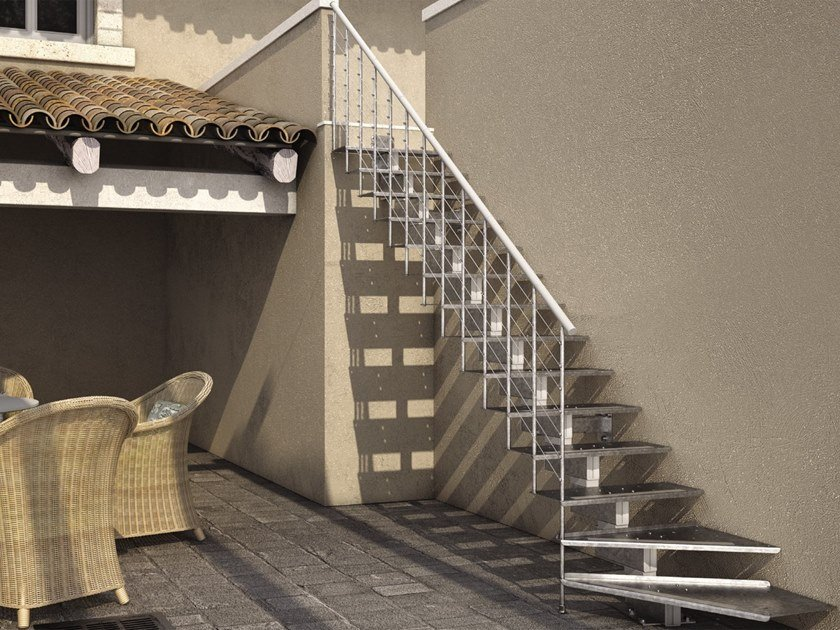 Outdoor steel Open staircase WILLY FX by MOBIROLO