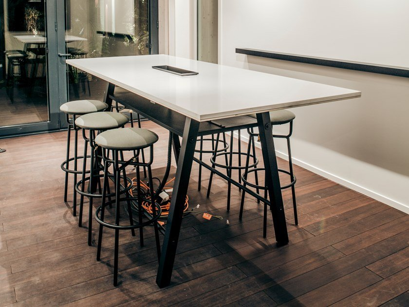 Multi-layer wood high table WILSON | Rectangular table by Manganèse Éditions