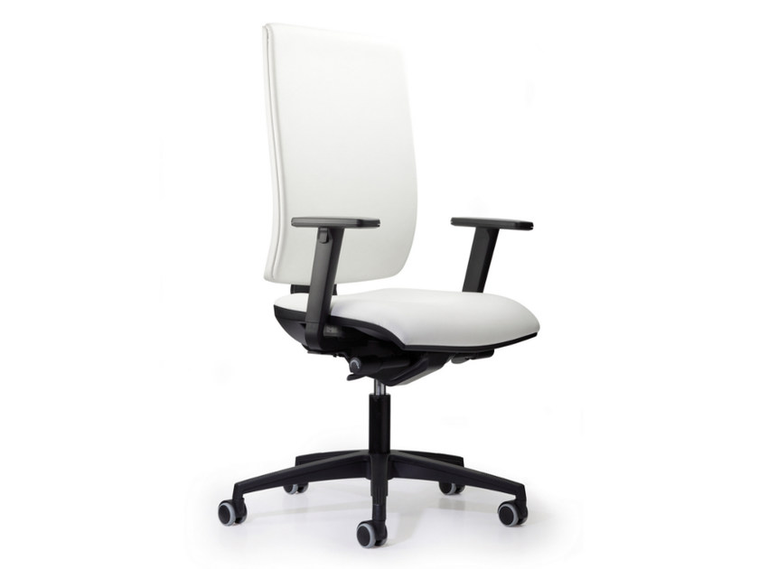 Leather task chair with 5-Spoke base with armrests with casters WIND 103 by TALIN