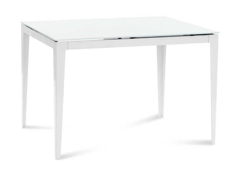 Extending rectangular glass and steel table WIND-110 by DOMITALIA