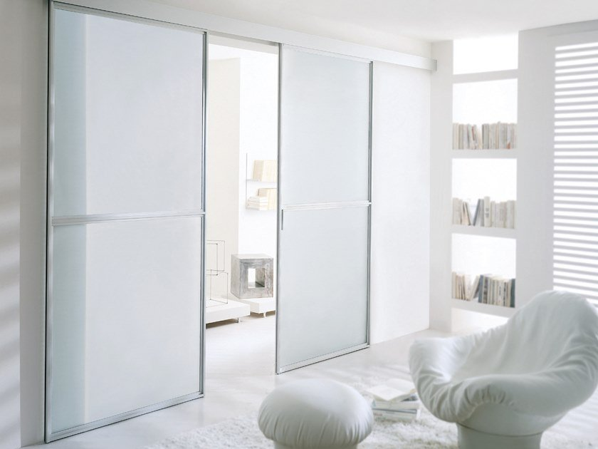 Satin glass sliding door WIND | Satin glass door by Longhi