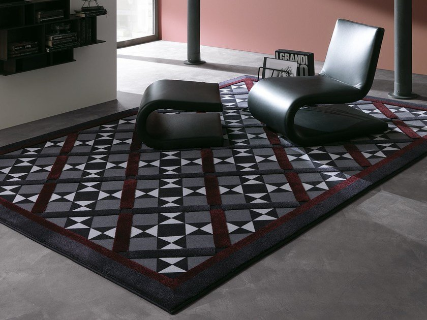 Fabric rug with geometric shapes WINDSOR by Besana Moquette