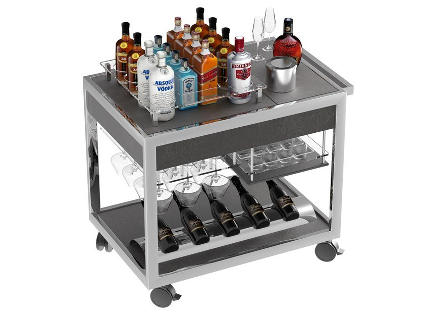 Beverage Serving trolley with shelves Wine & Spirit cart by La tavola