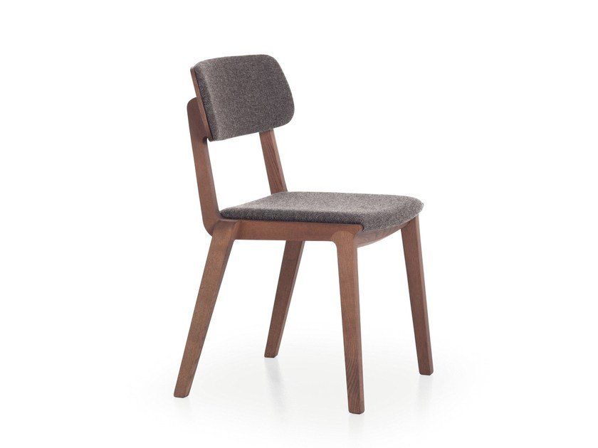 Wooden chair with integrated cushion WING 01 by Very Wood