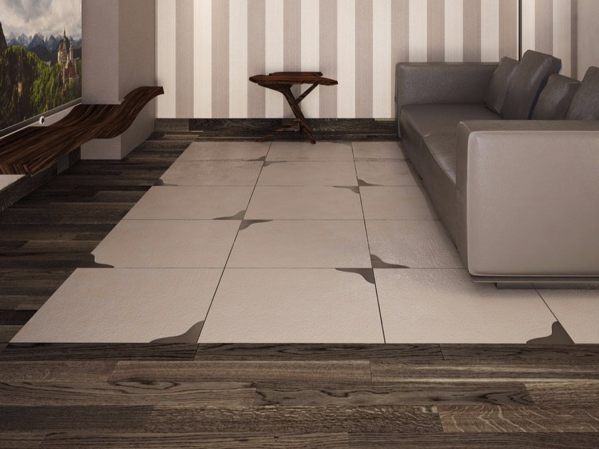 Porcelain stoneware and glass flooring WING by VETROVIVO